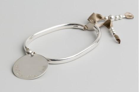 Bracelet jonc Clémentine + ronde 2.7cm en argent