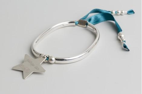 Bracelet jonc en argent Clémentine + étoile 2.7cm