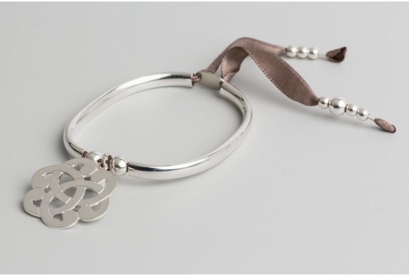 Bracelet jonc en argent Clémentine + arabesque 2.7cm