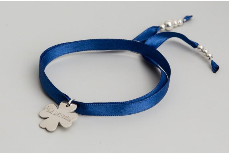 Bracelet Faubourg personnalisé  en argent, lien satin trèfle 2cm