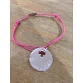 Bracelet gravé communion en argent médaille croix