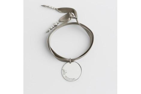 Bracelet personnalisé gravé en argent Faubourg médaille ronde 2.7cm