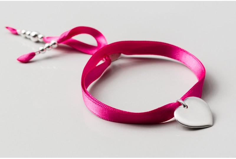 Bracelet personnalisé gravé en argent Faubourg coeur 2cm