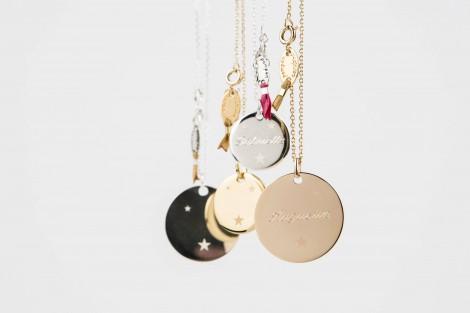 Sautoir Céleste médaille 2cm gravée
