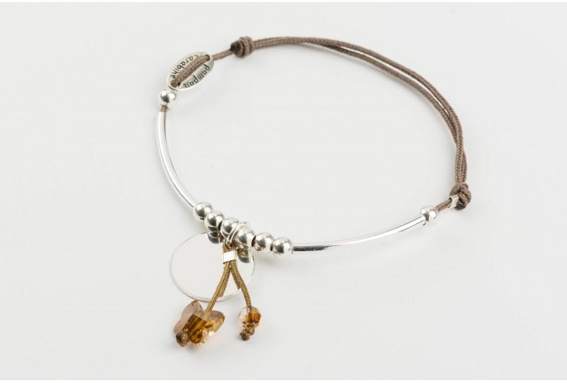 Voltige, bracelet papillon cristal ambré
