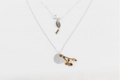 Voltige, collier papillon cristal ambré petit modèle