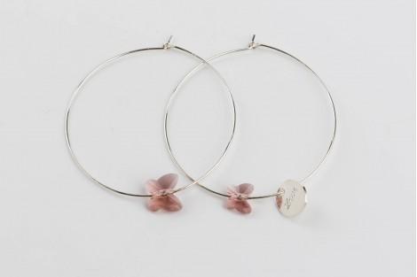Voltige, créoles quartz rose