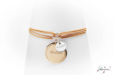 Bracelet Bonheur plaqué or à graver