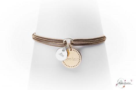 Bracelet Bonheur plaqué or à personnaliser