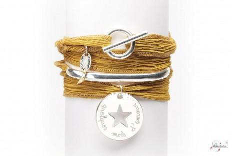 Bracelet Bohème demi-jonc et médaille 2.7cm en argent