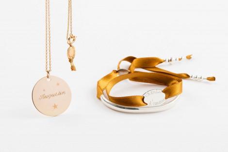Bracelet jonc argent Faubourg sur lien satin