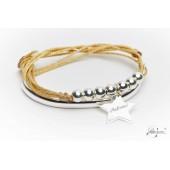 Bracelet Vana lien pailleté doré