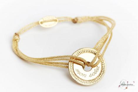 Bracelet personnalisé gravé cible en plaqué or