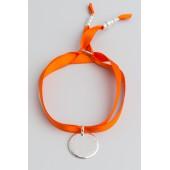 Bracelet personnalisé gravé Faubourg, lien satin, médaille ronde 2cm