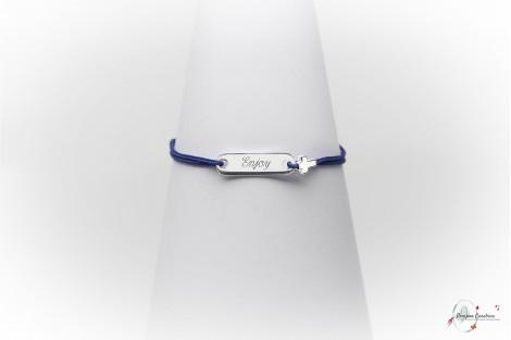 Bracelet plaque baptême gravée argent Pompon Carabine