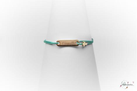 Bracelet avec plaque baptême communion gravée argent