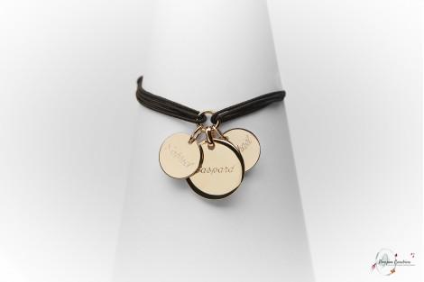 Bijoux gravés médailles gravées bracelet personnalisé Pompon Carabine