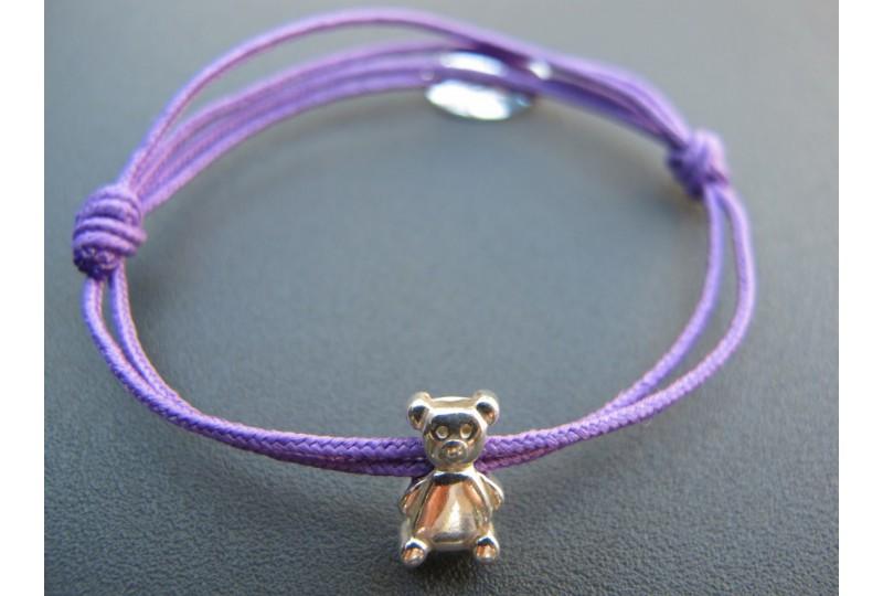 Bracelet personnalisé gravé en argent avec ourson sur lien