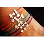 Bracelet sur lien cordon avec perle en argent