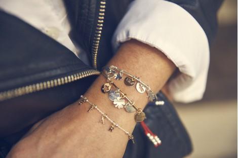 Pompon Carabine bracelet jonc argent gravure