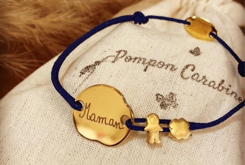 Bracelet petit galet en argent ou plaqué or à graver
