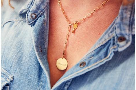 Collier chaine maillon plaqué or avec médaille gravée