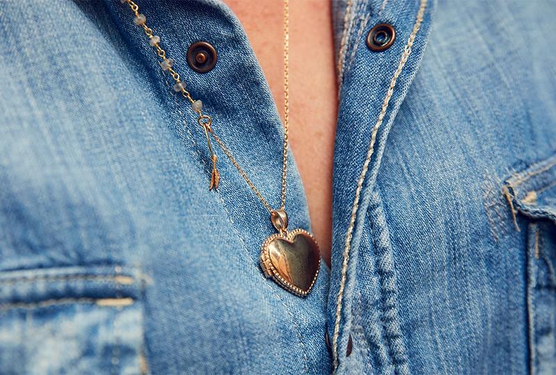 Collier coeur photo en plaqué or