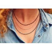 Collier perle noire, rose, bleu canard