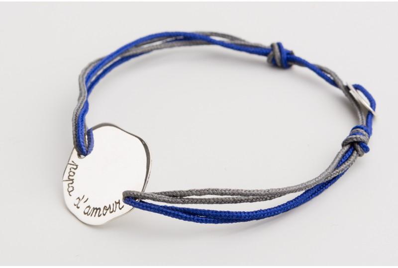 Bracelet personnalisé gravé en argent grand galet
