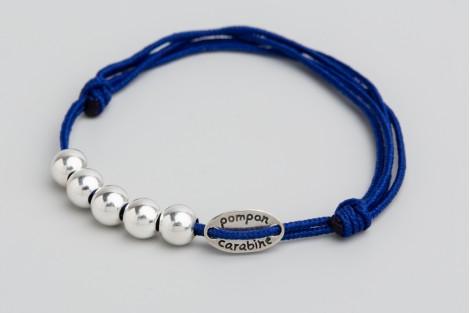 Bracelet 5 perles argent