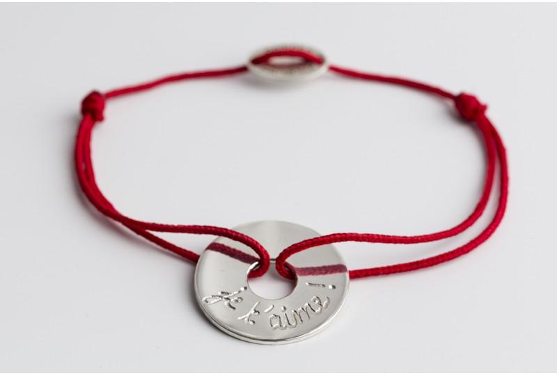 Bracelet personnalisé gravé cible en argent