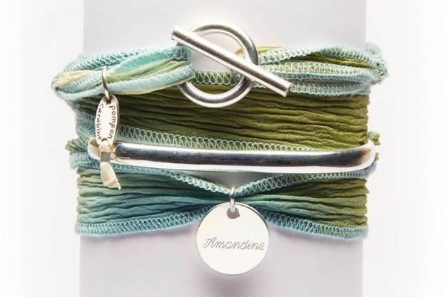 Bohème - Demi Jonc et ruban de soie à personaliser