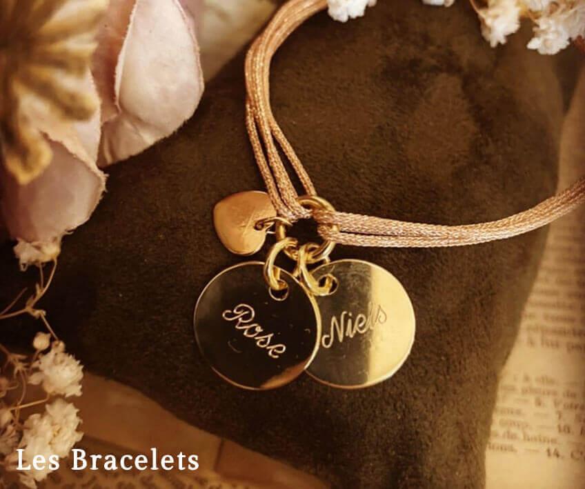 Bracelets personnalisés gravés en argent et plaqué or
