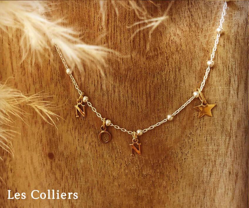 Colliers à personnaliser et graver en chaine perlée argent ou plaqué or